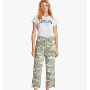 Mother Patch Pocket Private Ankle Fray Camo Jean